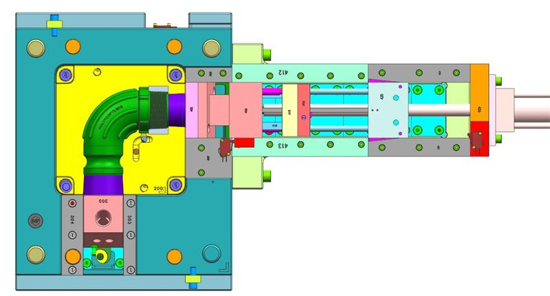 90 degree elbow injection mold